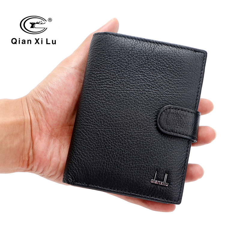 Famous Brand Large Bifold Travel Wallets Passport Bag Genuine Real Leather Wallet Credit ID Card Slots Coin Pouch Purse mens wallets black cowhide real genuine leather wallet bifold clutch coin short purse pouch id card dollar holder for gift