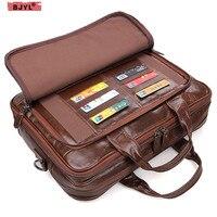 BJYL 100% натуральная кожа мужская деловая Сумочка поперечный Портфель 15 ноутбук мессенджер Ретро Дорожные сумки на плечо