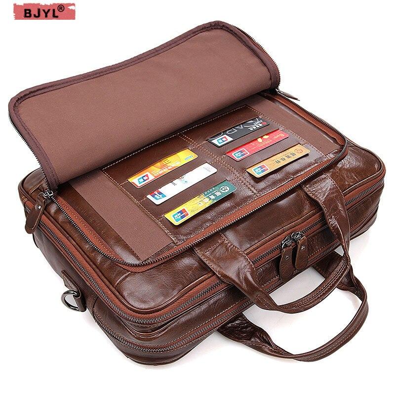 BJYL 100% Genuine Leather Men Business Official Handbag Cross-section Briefcase 15