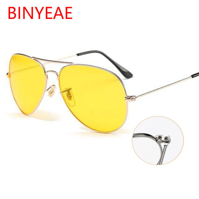 b42aab5574e aviation Yellow Sunglasses Women Day and Night Vision Glasses classic brand  designer Male sun glasses for Driving clear lens