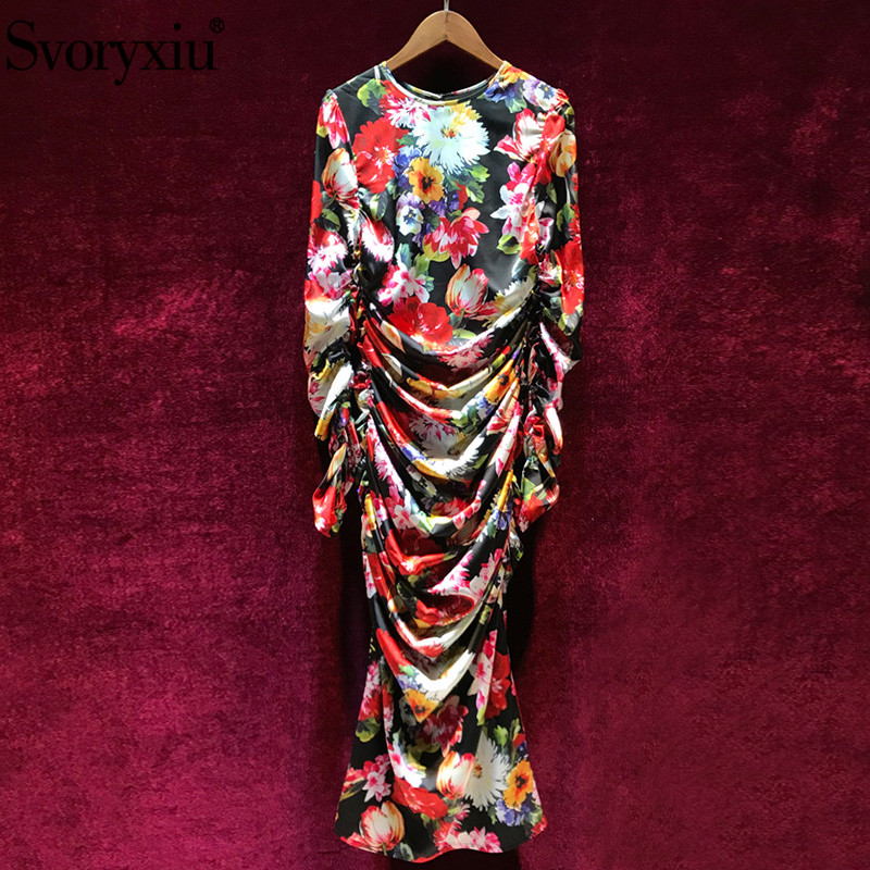 Svoryxiu Sexy Runway Summer Bodycon Ruched Long Dress Women s Vintage Floral Print Package Buttocks Sheath