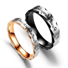 Anillos de pareja acero inoxidable 6 MM anillo cristal boda Color plateado para amantes romántica elegante joyerí