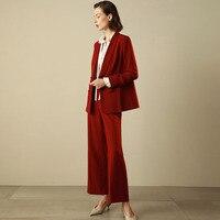 C + IMPRESS для женщин брючные костюмы для Блейзер брюки девочек 2 шт./компл. Красный Повседневная обувь офисные женские туфл