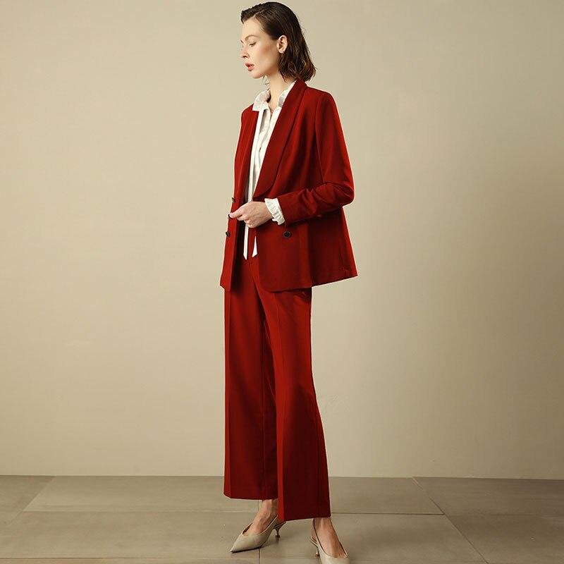 47ed7f693bd8 Rosso Pantalone Usura Borgogna Office Lady Donna Pezzi 2 Vestiti Lavoro  Giacca Tailleur Donne Pants Impressionare Pantaloni Di C Blazer set ...