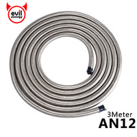 evil energy Universal 10 Feet AN12 Stainless Steel Braided Oil Cooler Oil Fuel Hose Line Turbo Charge Oil Line 3M
