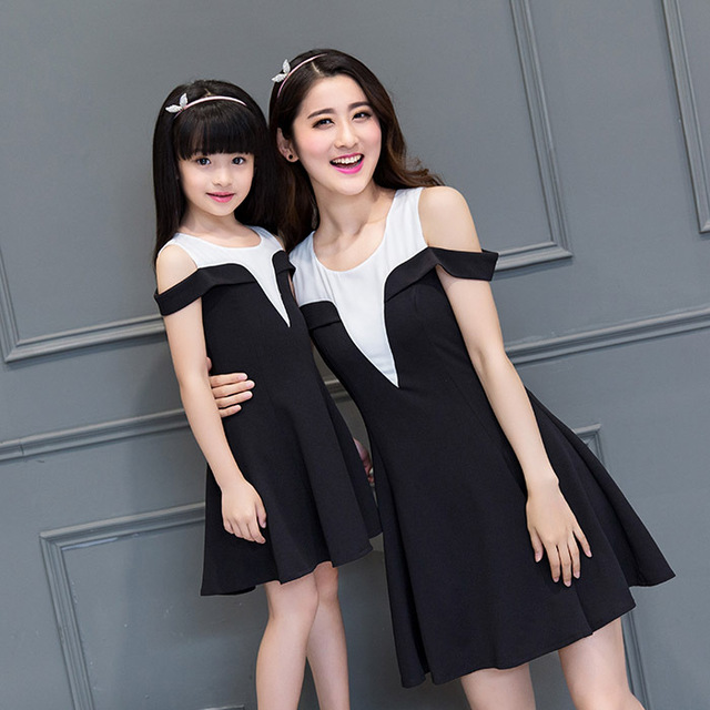 2016 new summer fashion family look patchwork linen strapless Mother Daughter Dresses mother daughter matching clothes