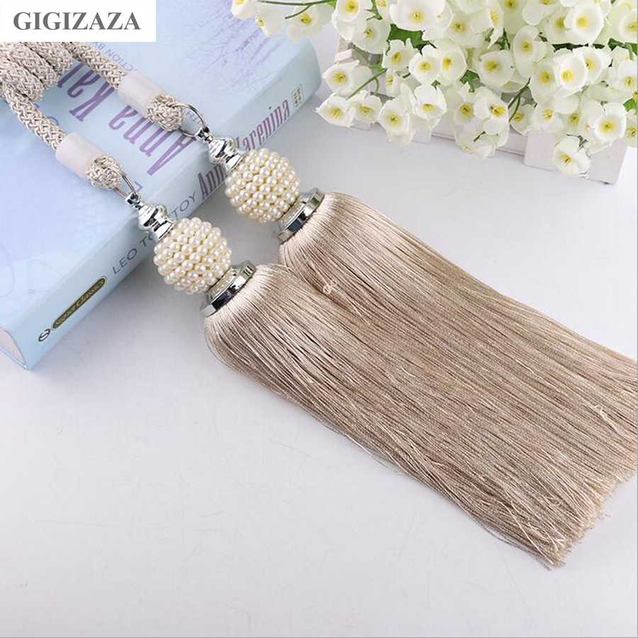One pair pearl Home Window curtain clips accessories Hanging Belt Ball curtain strap khaki blue Curtain tassel tieback Buckle