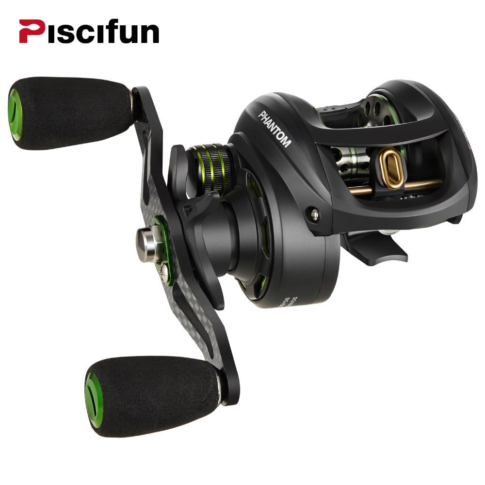 Piscifun Phantom moulinet de pêche Carbone fibre Ultraléger 162g Double Frein 7.7 kg Max Glisser 7.0: 1 rapport de transmission Lac Baitcasting Bobine