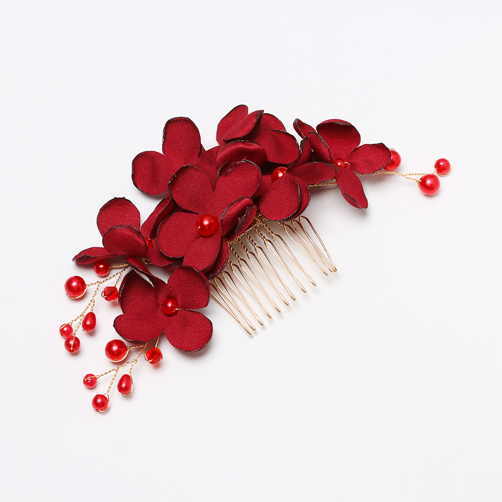 1 Pcs Fashion Bridal Clips Wedding Bridesmaid Tiara Red Flower Hair Clip Hairpin Combs Jewelry Accessories Beautiful Barrettes