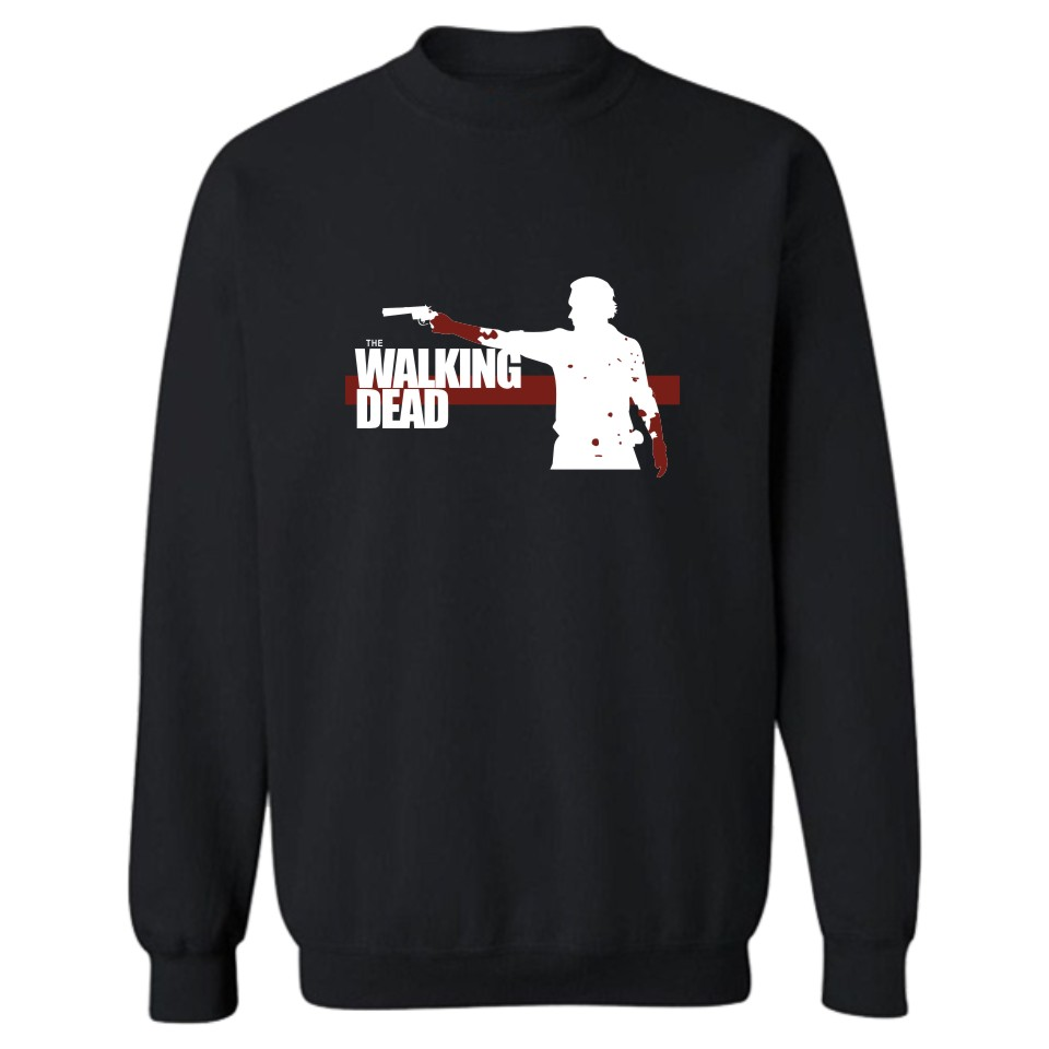 The Walking Dead Zombies Punk Sweatshirt Men Black In Winter Autumn Hoodies And Sweatshirts Brand Tracksuit White 4XL