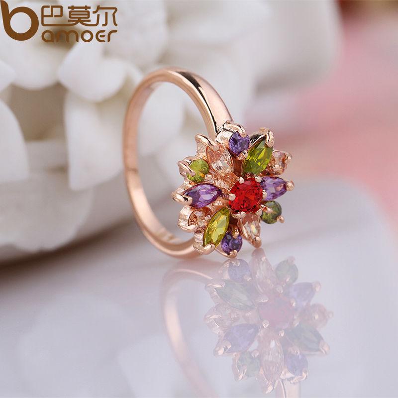 BAMOER 3 värvi roosa kulla värvi sõrmust sõrmus, AAA - Mood ehteid - Foto 5