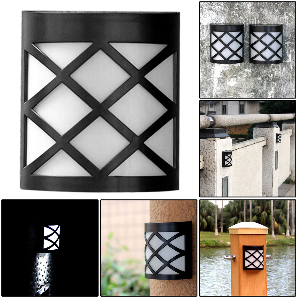 Waterproof Solar Powered Wall Mount LED Light Garden Path Landscape Fence Yard Lamp White Outdoor Lighting