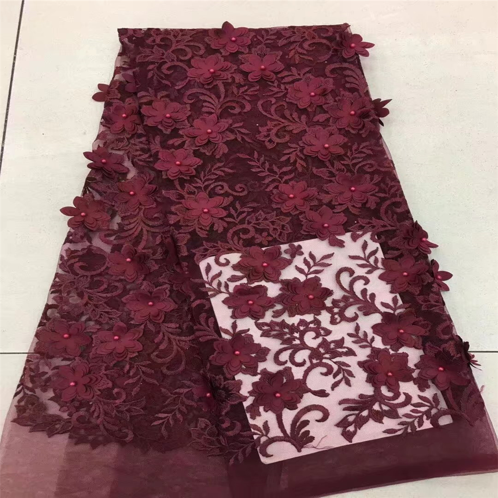 Bridal Nigerian Wedding Lace Materials 3D Lace Fabric High Quality 2018 African Lace Fabric On Sale Beads Lace Fabric HJ39-1  Bridal Nigerian Wedding Lace Materials 3D Lace Fabric High Quality 2018 African Lace Fabric On Sale Beads Lace Fabric HJ39-1