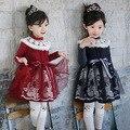 2016 Зима Новый Корейский детская Одежда Для Девочек Плюс Толстый Бархат Платья Вышитые Платье Принцессы детская Одежда Новый