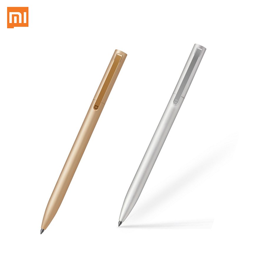 Original Xiaomi Mijia Metal Sign Pen With Box 9.5mm Signing Pen PREMEC Smooth Switzerland Refill Gold / Silver, Black / Blue Ink