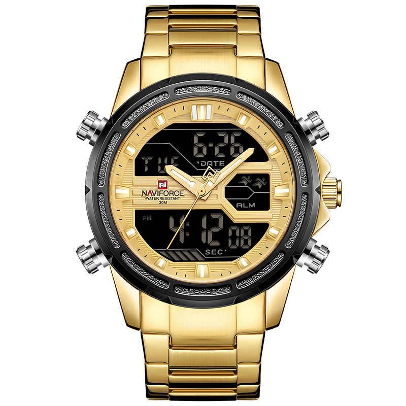 NAVIFORCE 2018 แฟชั่นผู้ชายใหม่กีฬานาฬิกาผู้ชายนาฬิกาควอตซ์ชายสแตนเลสกันน้ำ LED Analog Digital Clock