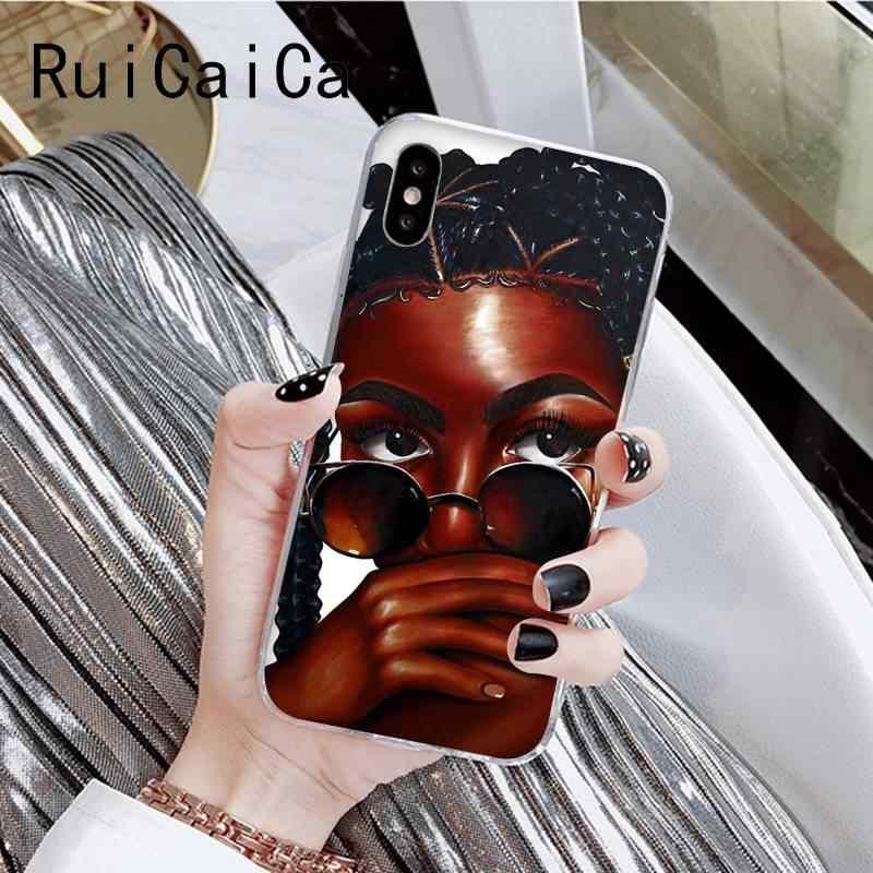 RuiCaiCa afrykańskie piękno Afro Puffs melanin poppin czarna dziewczyna fonecase dla iPhone8 7 6 6splus X XSMAX 5 XR 10 11 11pro 11promax