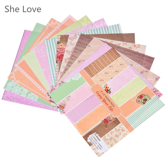 she love 24 sheets scrapbooking pads paper origami art background