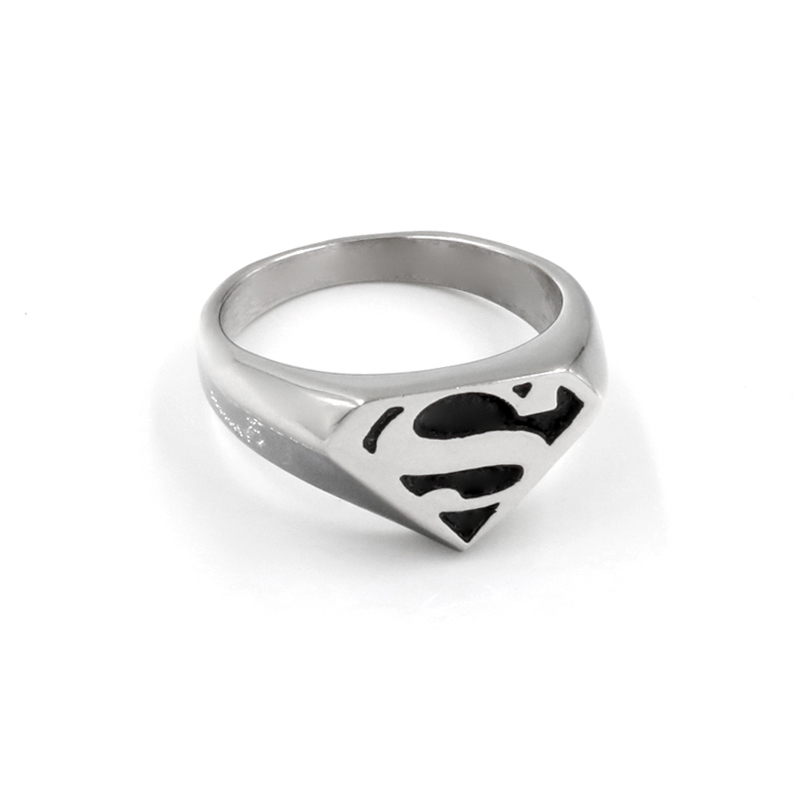 Jewelry Mens Motor Biker Superman Rings For Men Stainless Steel
