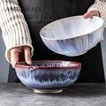 Nordic keramik geschirr reis schüssel salat nudel schüssel 8 5 zoll 2300 ml große suppe schüssel unterglasur gradienten porzellan gerichte-in Schalen aus Heim und Garten bei