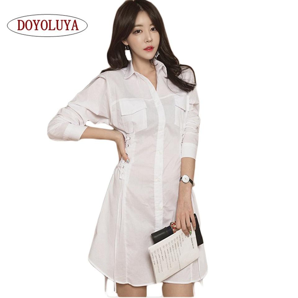 Causal Elegante Doyoluya Otoño Mujer Camisa 2017 Cruz Lazo Lado n7xqaI