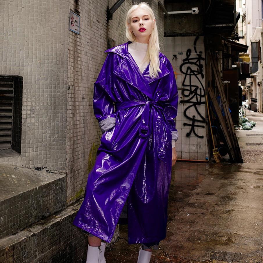 2019 fashion brand glossy patent leather fabric longer pu leather jackets female elegant blue long sleeve leather jacket wj2832