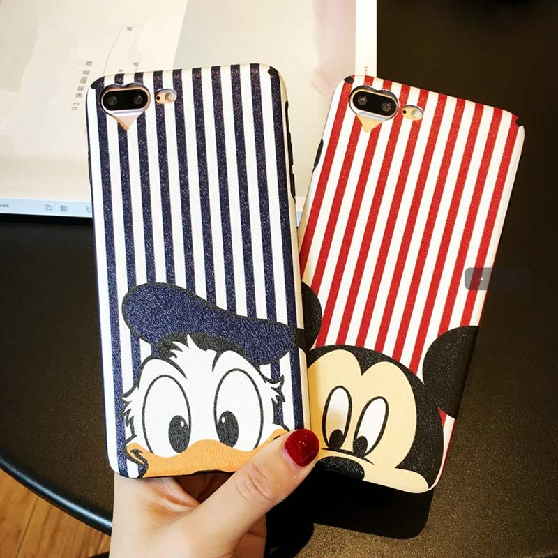 Cartoon Cute Mickey Donald Duck Soft PU Leather for iPhone 7 7plus Phone Case Silk pattern For iphone 6 6s plus Back Cover Case