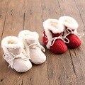 2017 Rojo de Invierno de Algodón Marca Bebé Zapatos Mocasines De Piel Niñas botas Zapatos de Suela Dura Botines Bebés Cuna Recién Nacido Primero Walker