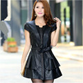 Women's 2015 New Korean Slim Vest PU Leather Dress Plus Size S-5Xl Woman Pleated V-Neck Leather Dress Free Shipping A673