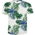 2017 El Más Nuevo Estilo Flores Hojas de Impresión camiseta Ocasional de Las Mujeres camiseta de Manga Corta de Verano Camisetas de Las Mujeres Calientes Tops Tees M-4XL