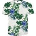 2017 Mais Novo Estilo Folhas Flores Imprimir Casual camisa t Mulheres T camisa Tops Tees Camisetas de Verão de Manga Curta das Mulheres Quente M-4XL