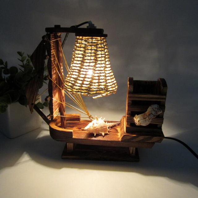 Sailing Boat Night Light With Pen Holder For Home Table Decorative Lamp  Birthday Christmas New Year