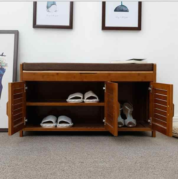Merveilleux ... Natural Bamboo Shoe Cabinet Entryway Shoe Storage Household Shelf Shoe  Bench With Cushion Bamboo Furniture Hallway ...