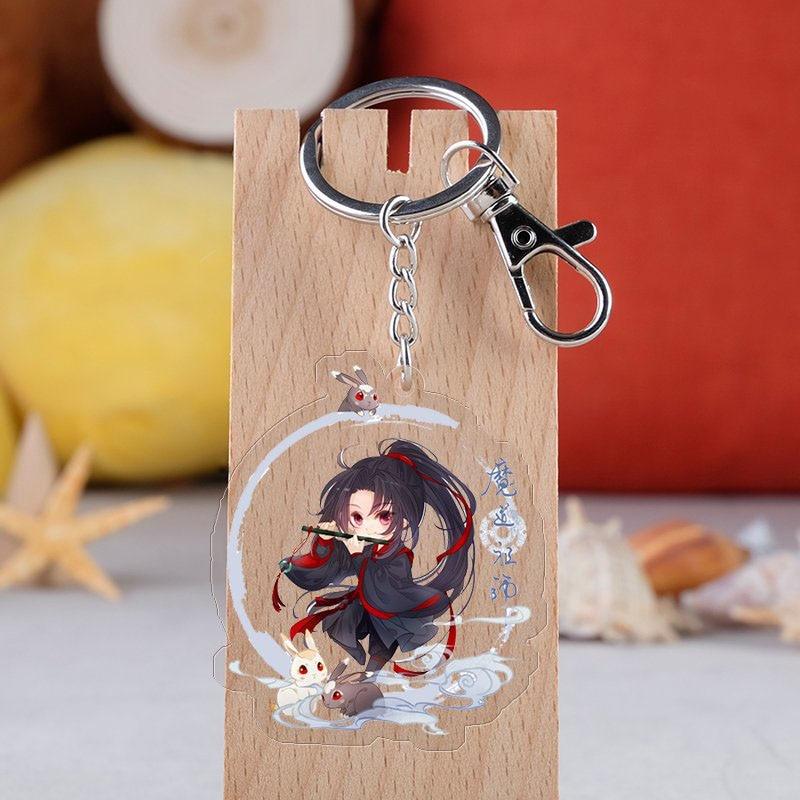 Anime Mo Dao Zu Shi Keychain Cartoon Figure Wei Wuxian Lan Zhan Double Sided Acrylic Key  Ring Cosplay Pendant