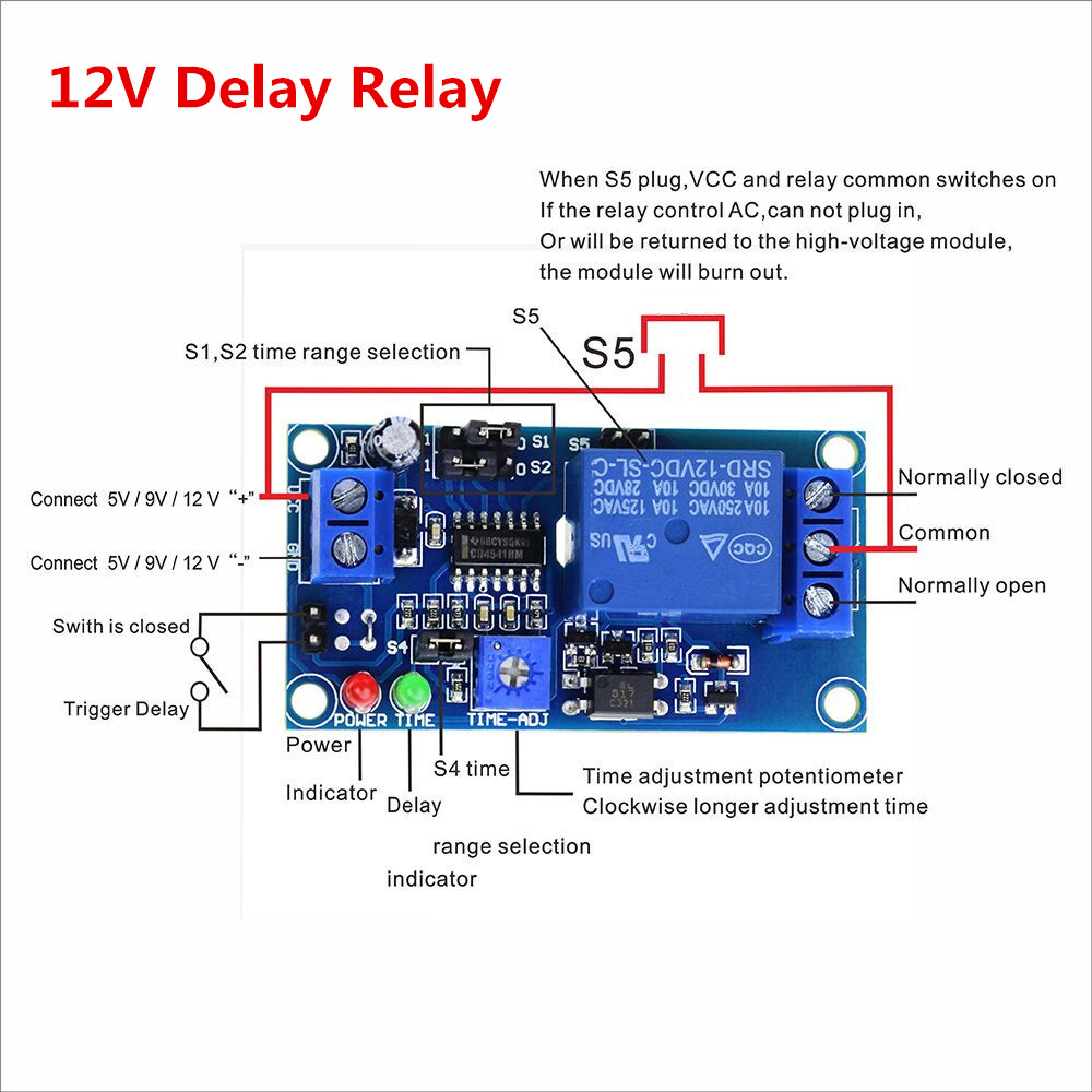 Smart Electronics 1pcs Delay Relay Delay Turn On / Delay Turn Off Switch Module With Timer DC 12V