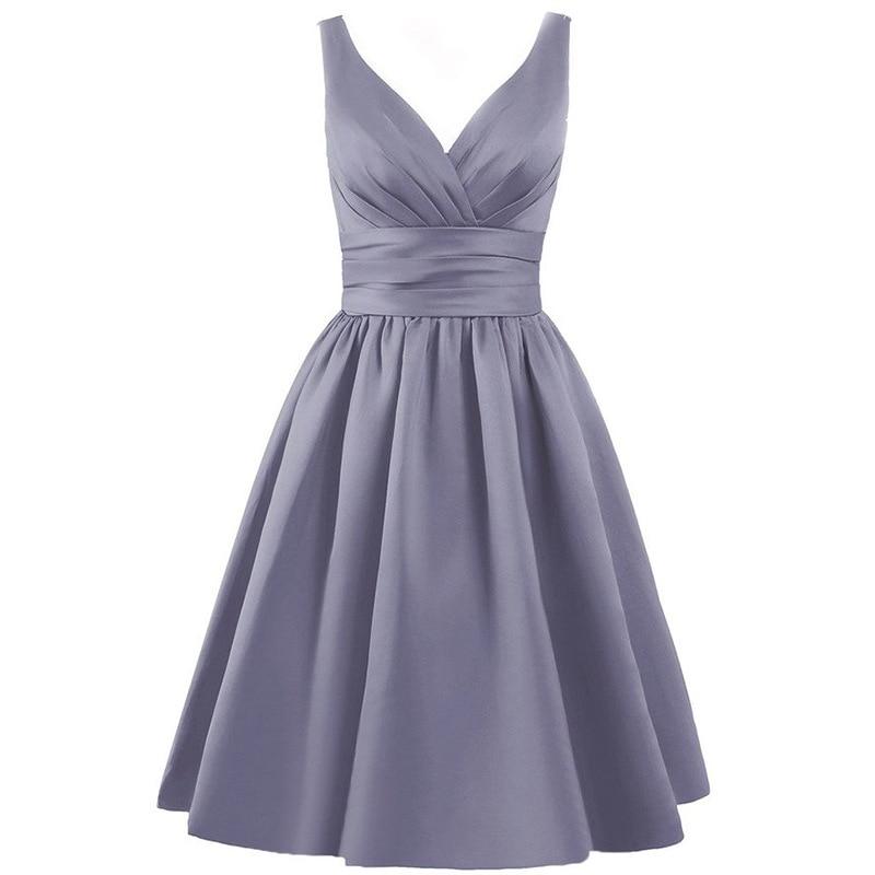 Satsweety Vlastní barva Čaj-délka V-Neck krátké Stain družičky - Šaty pro svatební hostiny - Fotografie 5