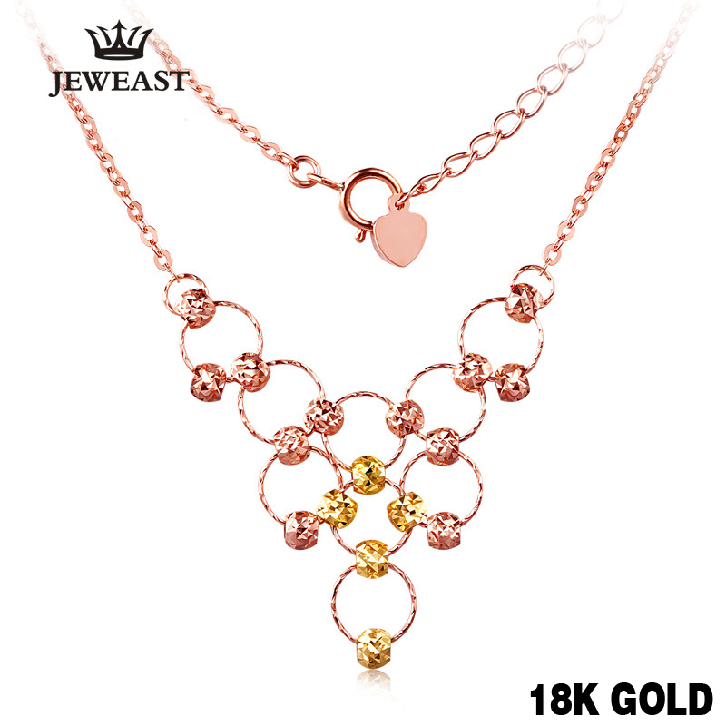 18k Pure Gold Necklace Solid 750 Chain Lucky Bead Woman Gril Miss Gift Romantic Pop Pendant Top Quality Upscale 2017 New Ball