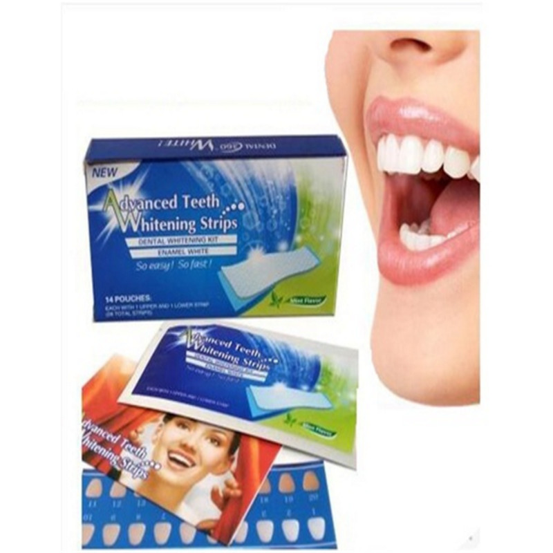 28Pcs/14Pair 3D White Gel Teeth Whitening Tooth Dental kit Whitening Strips Oral Hygiene Care perfect smile Dentist Dentist seks
