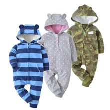 New 2019 baby costume cute camo baby jumpsuit coat for baby boy clothes fleece outfit infant Jacket for baby girl clothing cheap Outerwear Coats Jackets Regular Striped Hooded Unisex OrangeMom Full Polyester Cashmere Cotton Fits true to size take your normal size