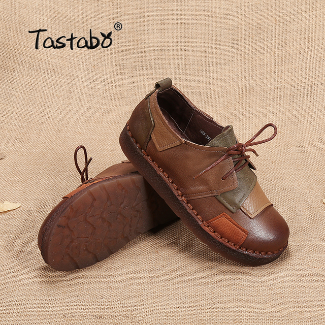 Tastabo Genuine Leather Flat Shoe Pregnant Women Shoe Mother Driving Shoe Female Moccasins Women Flats Hand-Sewing Shoes 4