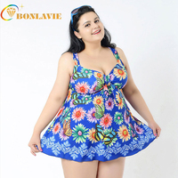 2017 Plus Size Floral Monokini One Piece Swimsuit With Skirt Swimwear Bathing Suit Swimming Wear Bottom