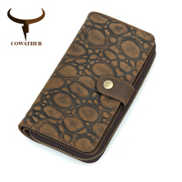 COWATHER Genuine Cow Leather Men Wallet Fashion Coin Pocket Design Men Purse High Quality Male