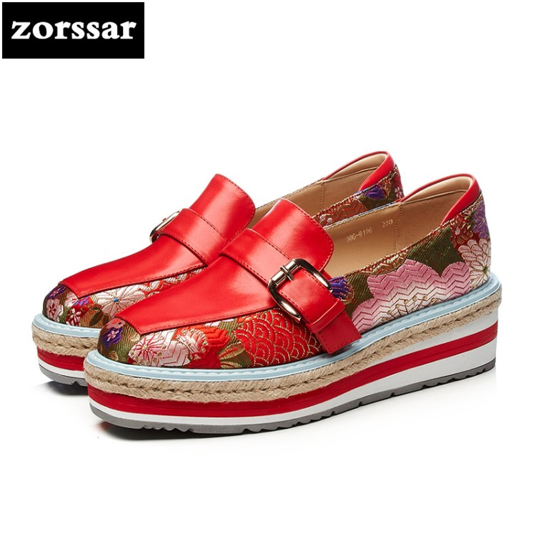 {Zorssar} 2018 Fashion embroidery women flat sneakers shoes Genuine Leather Female casual shoes Slip on flats platform Loafers zorssar 2018 new patent leather flats platform women shoes casual flat pointed toe shoes female sneakers shoes student shoes
