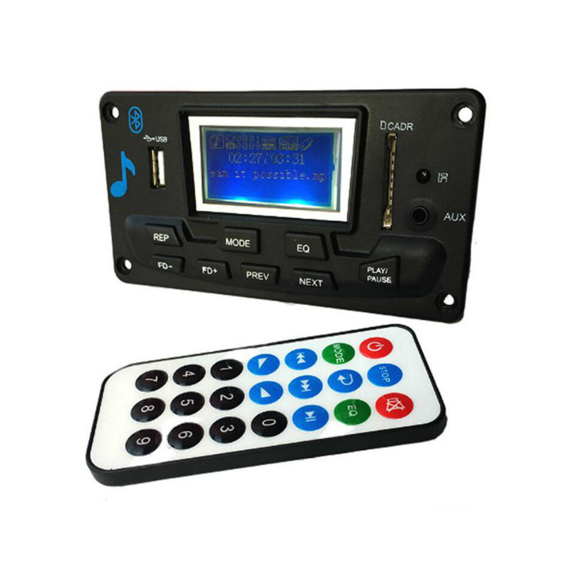 12V LCD Bluetooth MP3 Decoder Board WAV WMA Decoding MP3 Player Audio Module Support FM Radio AUX USB With Music Lyrics Display in HiFi Players from Consumer Electronics