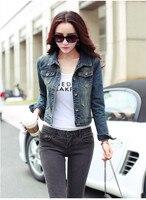 2018 Spring Autumn Korean Long sleeved Worn Slim Short Denim Jackets Single Breasted Buttons Up Short Jacket Jeans Women Coats