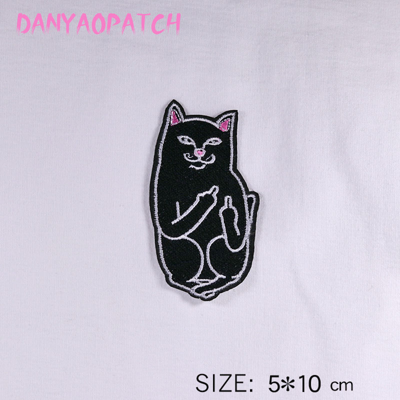 cat white and black Iron Patch Clothes Embroidery Applique Ironing Clothing Sewing Supplies Decorative Badge Sew On Badges in Patches from Home Garden