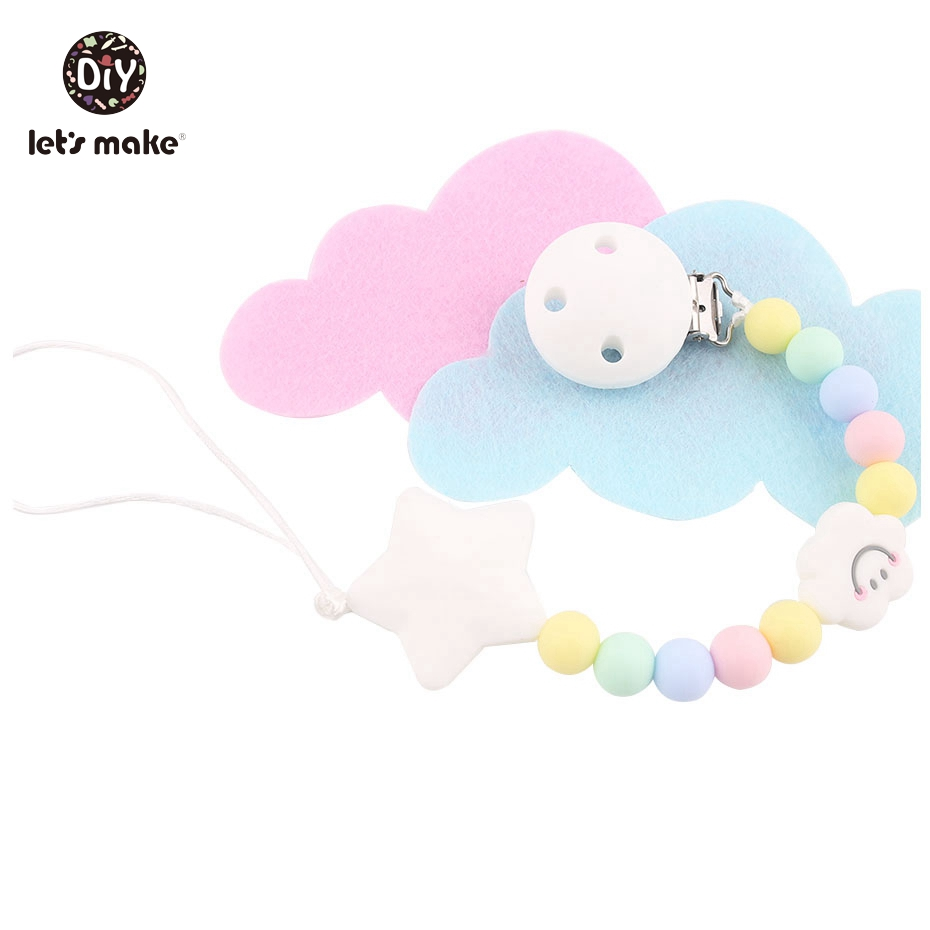 Let's Make 100pcs Siilicone Cloud Beads Safe And Natural Sensory Chewing Toy Interactive Toys DIY Accessories Baby Teether