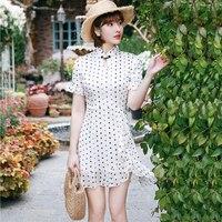 2019 Summer sexy chinese dress qipao modern Womens Modified fashion cheongsam Chiffon dot high quality plus size S 2XL