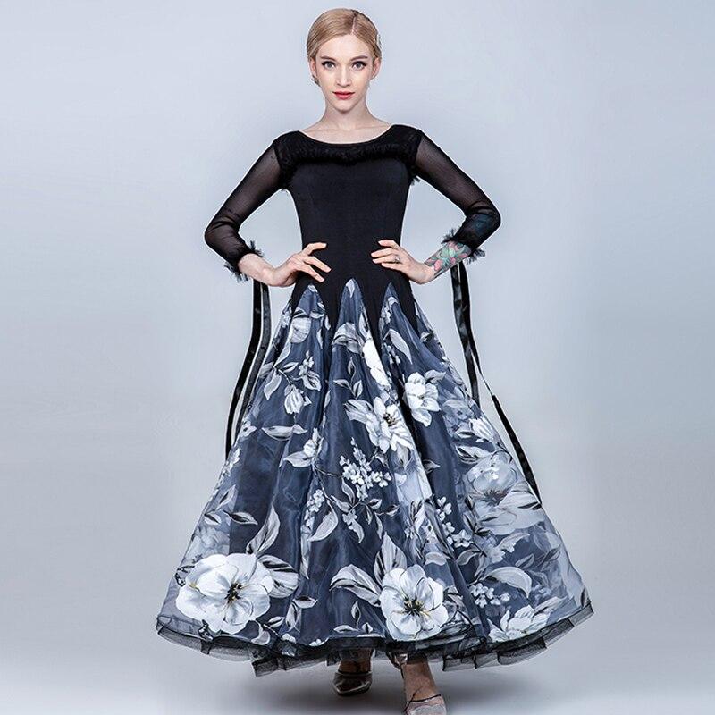 Vêtements de Festival pour femmes robe de danse de salon haut noir jupe de fleur valse robes de concours de danse de salon Standard BL1515