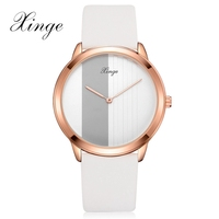 Xinge Brand Men Fashion Rose Gold Watches Business Wrist Watch For Male Leather Dress Mens Quartz